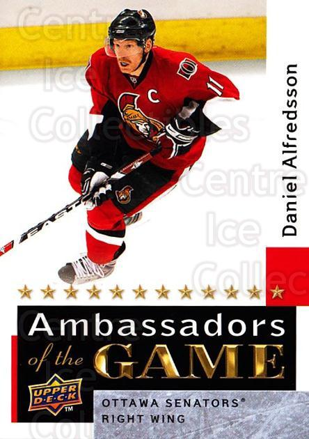 2009-10 Upper Deck Ambassadors of the Game #46 Daniel Alfredsson<br/>3 In Stock - $3.00 each - <a href=https://centericecollectibles.foxycart.com/cart?name=2009-10%20Upper%20Deck%20Ambassadors%20of%20the%20Game%20%2346%20Daniel%20Alfredss...&quantity_max=3&price=$3.00&code=715130 class=foxycart> Buy it now! </a>