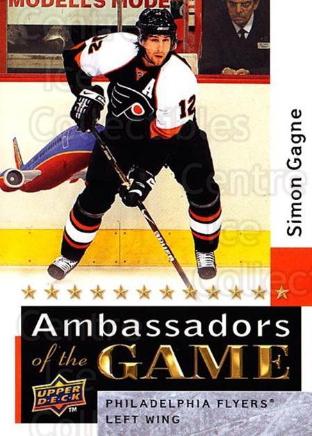 2009-10 Upper Deck Ambassadors of the Game #47 Simon Gagne<br/>2 In Stock - $3.00 each - <a href=https://centericecollectibles.foxycart.com/cart?name=2009-10%20Upper%20Deck%20Ambassadors%20of%20the%20Game%20%2347%20Simon%20Gagne...&quantity_max=2&price=$3.00&code=715131 class=foxycart> Buy it now! </a>