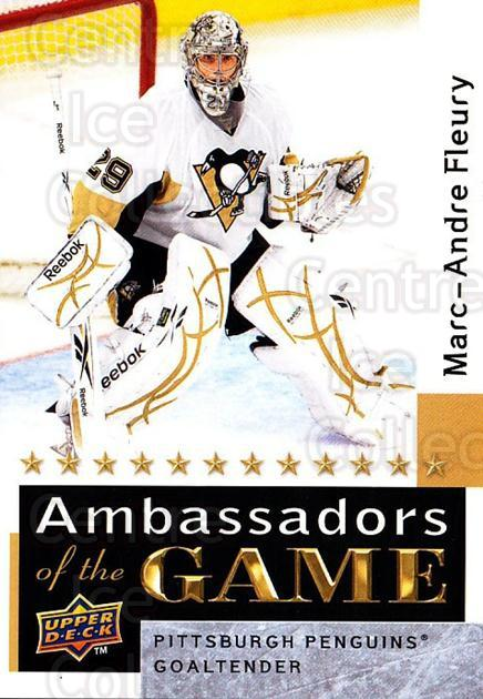 2009-10 Upper Deck Ambassadors of the Game #48 Marc-Andre Fleury<br/>1 In Stock - $3.00 each - <a href=https://centericecollectibles.foxycart.com/cart?name=2009-10%20Upper%20Deck%20Ambassadors%20of%20the%20Game%20%2348%20Marc-Andre%20Fleu...&quantity_max=1&price=$3.00&code=715132 class=foxycart> Buy it now! </a>