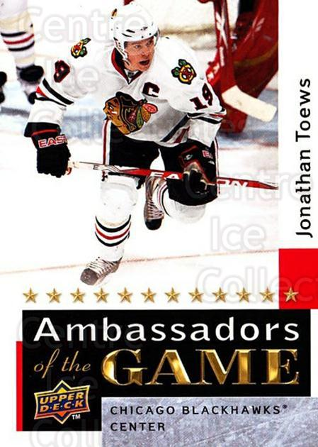 2009-10 Upper Deck Ambassadors of the Game #52 Jonathan Toews<br/>1 In Stock - $5.00 each - <a href=https://centericecollectibles.foxycart.com/cart?name=2009-10%20Upper%20Deck%20Ambassadors%20of%20the%20Game%20%2352%20Jonathan%20Toews...&quantity_max=1&price=$5.00&code=715136 class=foxycart> Buy it now! </a>