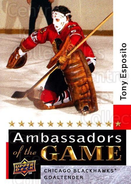 2009-10 Upper Deck Ambassadors of the Game #53 Tony Esposito<br/>1 In Stock - $5.00 each - <a href=https://centericecollectibles.foxycart.com/cart?name=2009-10%20Upper%20Deck%20Ambassadors%20of%20the%20Game%20%2353%20Tony%20Esposito...&quantity_max=1&price=$5.00&code=715137 class=foxycart> Buy it now! </a>