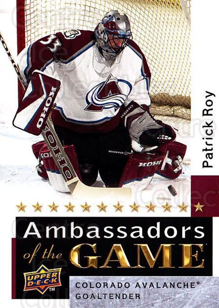 2009-10 Upper Deck Ambassadors of the Game #54 Patrick Roy<br/>1 In Stock - $10.00 each - <a href=https://centericecollectibles.foxycart.com/cart?name=2009-10%20Upper%20Deck%20Ambassadors%20of%20the%20Game%20%2354%20Patrick%20Roy...&quantity_max=1&price=$10.00&code=715138 class=foxycart> Buy it now! </a>