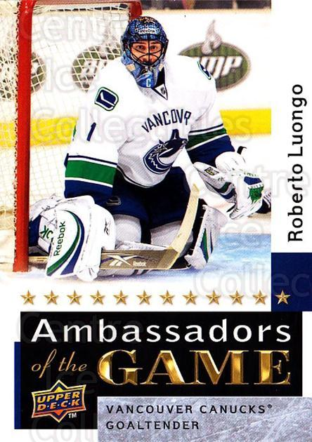 2009-10 Upper Deck Ambassadors of the Game #60 Roberto Luongo<br/>1 In Stock - $5.00 each - <a href=https://centericecollectibles.foxycart.com/cart?name=2009-10%20Upper%20Deck%20Ambassadors%20of%20the%20Game%20%2360%20Roberto%20Luongo...&quantity_max=1&price=$5.00&code=715144 class=foxycart> Buy it now! </a>