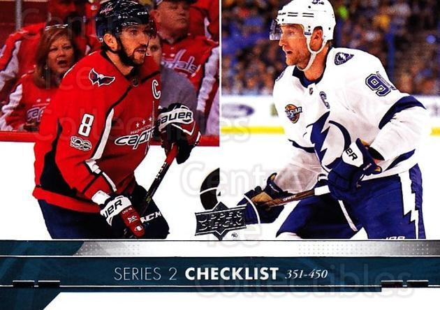 2017-18 Upper Deck #450 Alexander Ovechkin, Steven Stamkos, Checklist<br/>10 In Stock - $2.00 each - <a href=https://centericecollectibles.foxycart.com/cart?name=2017-18%20Upper%20Deck%20%23450%20Alexander%20Ovech...&quantity_max=10&price=$2.00&code=715644 class=foxycart> Buy it now! </a>