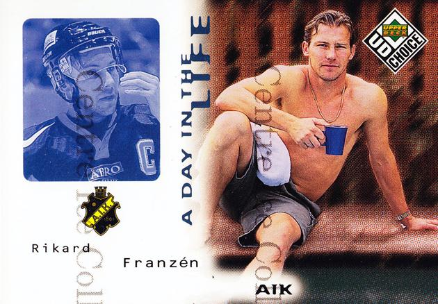 1998-99 Swedish UD Choice Day in the Life #1 Rikard Franzen<br/>10 In Stock - $2.00 each - <a href=https://centericecollectibles.foxycart.com/cart?name=1998-99%20Swedish%20UD%20Choice%20Day%20in%20the%20Life%20%231%20Rikard%20Franzen...&quantity_max=10&price=$2.00&code=71564 class=foxycart> Buy it now! </a>