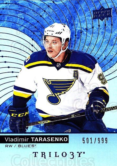 2017-18 UD Trilogy Blue #28 Vladimir Tarasenko<br/>2 In Stock - $5.00 each - <a href=https://centericecollectibles.foxycart.com/cart?name=2017-18%20UD%20Trilogy%20Blue%20%2328%20Vladimir%20Tarase...&quantity_max=2&price=$5.00&code=716134 class=foxycart> Buy it now! </a>