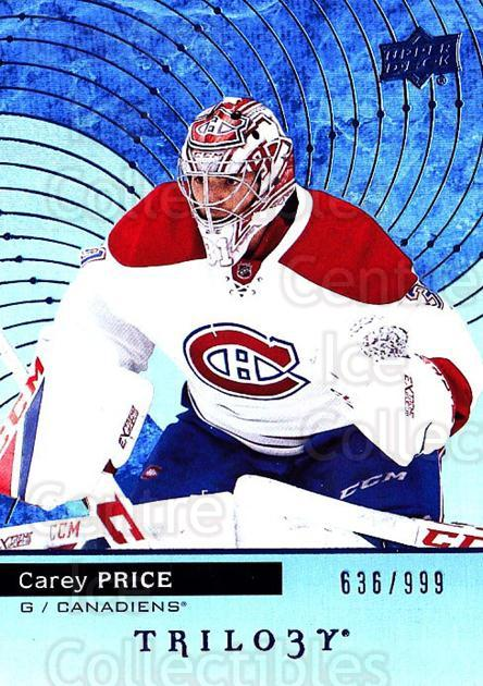 2017-18 UD Trilogy Blue #40 Carey Price<br/>1 In Stock - $10.00 each - <a href=https://centericecollectibles.foxycart.com/cart?name=2017-18%20UD%20Trilogy%20Blue%20%2340%20Carey%20Price...&quantity_max=1&price=$10.00&code=716146 class=foxycart> Buy it now! </a>