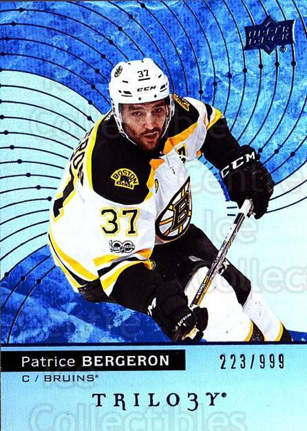 2017-18 UD Trilogy Blue #44 Patrice Bergeron<br/>2 In Stock - $5.00 each - <a href=https://centericecollectibles.foxycart.com/cart?name=2017-18%20UD%20Trilogy%20Blue%20%2344%20Patrice%20Bergero...&quantity_max=2&price=$5.00&code=716150 class=foxycart> Buy it now! </a>