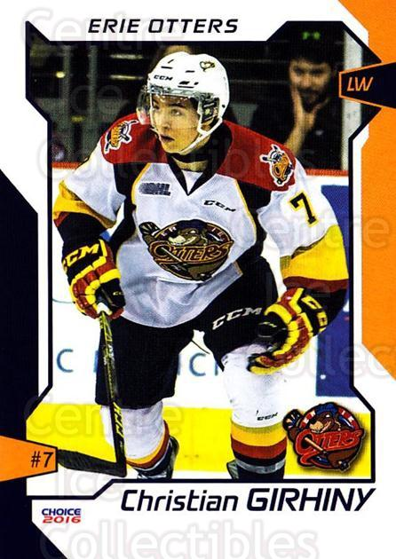 2015-16 Erie Otters #10 Christian Girhiny<br/>1 In Stock - $3.00 each - <a href=https://centericecollectibles.foxycart.com/cart?name=2015-16%20Erie%20Otters%20%2310%20Christian%20Girhi...&price=$3.00&code=718034 class=foxycart> Buy it now! </a>