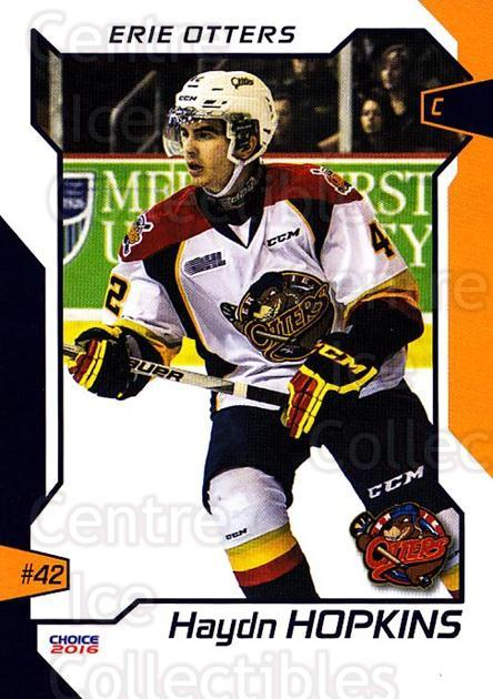 2015-16 Erie Otters #11 Haydn Hopkins<br/>1 In Stock - $3.00 each - <a href=https://centericecollectibles.foxycart.com/cart?name=2015-16%20Erie%20Otters%20%2311%20Haydn%20Hopkins...&price=$3.00&code=718035 class=foxycart> Buy it now! </a>