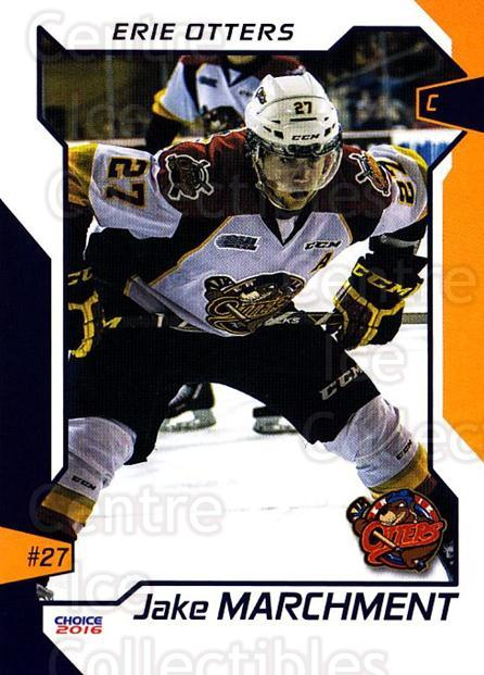 2015-16 Erie Otters #16 Jake Marchment<br/>1 In Stock - $3.00 each - <a href=https://centericecollectibles.foxycart.com/cart?name=2015-16%20Erie%20Otters%20%2316%20Jake%20Marchment...&price=$3.00&code=718040 class=foxycart> Buy it now! </a>