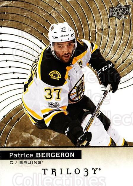 2017-18 UD Trilogy #44 Patrice Bergeron<br/>4 In Stock - $3.00 each - <a href=https://centericecollectibles.foxycart.com/cart?name=2017-18%20UD%20Trilogy%20%2344%20Patrice%20Bergero...&quantity_max=4&price=$3.00&code=718390 class=foxycart> Buy it now! </a>