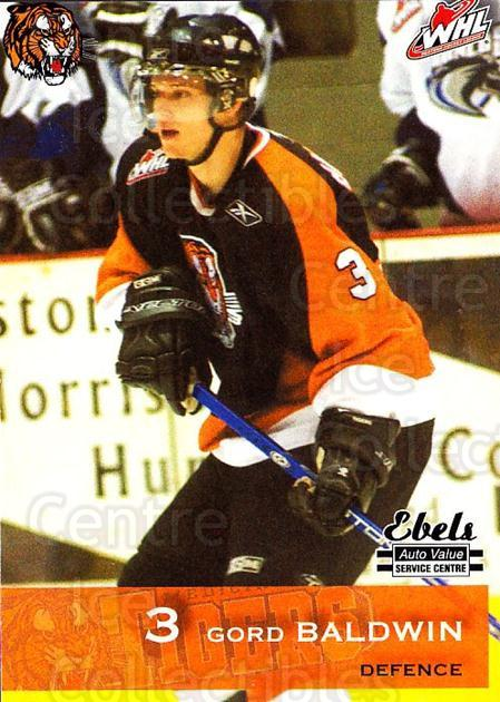 2006-07 Medicine Hat Tigers #1 Gord Baldwin<br/>1 In Stock - $3.00 each - <a href=https://centericecollectibles.foxycart.com/cart?name=2006-07%20Medicine%20Hat%20Tigers%20%231%20Gord%20Baldwin...&quantity_max=1&price=$3.00&code=720342 class=foxycart> Buy it now! </a>