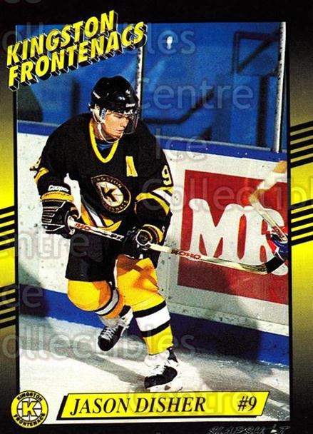 1993-94 Kingston Frontenacs #9 Jason Disher<br/>3 In Stock - $3.00 each - <a href=https://centericecollectibles.foxycart.com/cart?name=1993-94%20Kingston%20Frontenacs%20%239%20Jason%20Disher...&price=$3.00&code=7206 class=foxycart> Buy it now! </a>