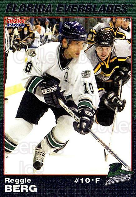 2003-04 Florida Everblades #2 Reggie Berg<br/>2 In Stock - $3.00 each - <a href=https://centericecollectibles.foxycart.com/cart?name=2003-04%20Florida%20Everblades%20%232%20Reggie%20Berg...&price=$3.00&code=721261 class=foxycart> Buy it now! </a>