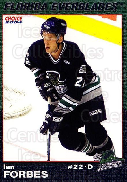 2003-04 Florida Everblades #7 Ian Forbes<br/>2 In Stock - $3.00 each - <a href=https://centericecollectibles.foxycart.com/cart?name=2003-04%20Florida%20Everblades%20%237%20Ian%20Forbes...&price=$3.00&code=721266 class=foxycart> Buy it now! </a>
