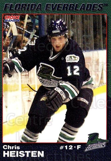 2003-04 Florida Everblades #8 Chris Heisten<br/>2 In Stock - $3.00 each - <a href=https://centericecollectibles.foxycart.com/cart?name=2003-04%20Florida%20Everblades%20%238%20Chris%20Heisten...&price=$3.00&code=721267 class=foxycart> Buy it now! </a>