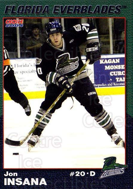2003-04 Florida Everblades #10 Jon Insana<br/>2 In Stock - $3.00 each - <a href=https://centericecollectibles.foxycart.com/cart?name=2003-04%20Florida%20Everblades%20%2310%20Jon%20Insana...&price=$3.00&code=721269 class=foxycart> Buy it now! </a>