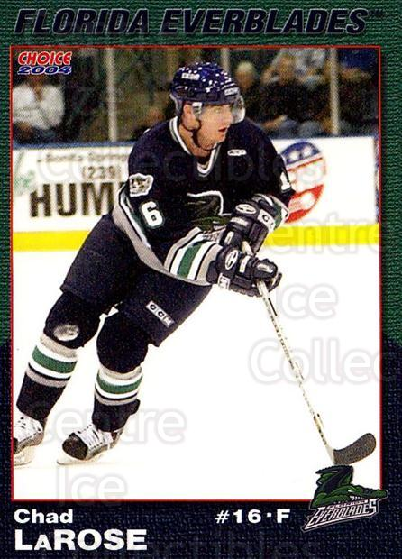 2003-04 Florida Everblades #11 Chad Larose<br/>2 In Stock - $3.00 each - <a href=https://centericecollectibles.foxycart.com/cart?name=2003-04%20Florida%20Everblades%20%2311%20Chad%20Larose...&price=$3.00&code=721270 class=foxycart> Buy it now! </a>