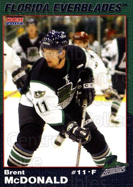 2003-04 Florida Everblades #17 Brent McDonald<br/>2 In Stock - $3.00 each - <a href=https://centericecollectibles.foxycart.com/cart?name=2003-04%20Florida%20Everblades%20%2317%20Brent%20McDonald...&price=$3.00&code=721276 class=foxycart> Buy it now! </a>
