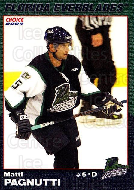 2003-04 Florida Everblades #19 Matt Pagnutti<br/>2 In Stock - $3.00 each - <a href=https://centericecollectibles.foxycart.com/cart?name=2003-04%20Florida%20Everblades%20%2319%20Matt%20Pagnutti...&price=$3.00&code=721278 class=foxycart> Buy it now! </a>
