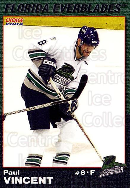 2003-04 Florida Everblades #20 Paul Vincent<br/>2 In Stock - $3.00 each - <a href=https://centericecollectibles.foxycart.com/cart?name=2003-04%20Florida%20Everblades%20%2320%20Paul%20Vincent...&price=$3.00&code=721279 class=foxycart> Buy it now! </a>