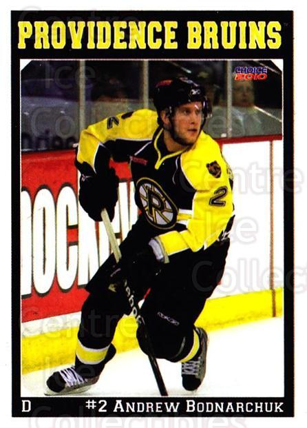 2009-10 Providence Bruins #2 Andrew Bodnarchuk<br/>1 In Stock - $3.00 each - <a href=https://centericecollectibles.foxycart.com/cart?name=2009-10%20Providence%20Bruins%20%232%20Andrew%20Bodnarch...&quantity_max=1&price=$3.00&code=721286 class=foxycart> Buy it now! </a>
