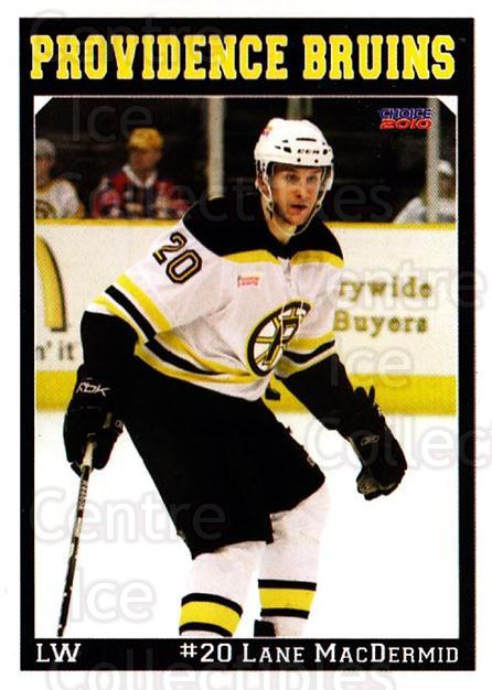 2009-10 Providence Bruins #12 Lane MacDermid<br/>1 In Stock - $3.00 each - <a href=https://centericecollectibles.foxycart.com/cart?name=2009-10%20Providence%20Bruins%20%2312%20Lane%20MacDermid...&quantity_max=1&price=$3.00&code=721296 class=foxycart> Buy it now! </a>