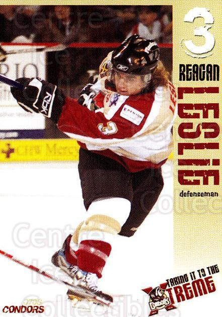 2007-08 Bakersfield Condors #16 Reagan Leslie<br/>1 In Stock - $3.00 each - <a href=https://centericecollectibles.foxycart.com/cart?name=2007-08%20Bakersfield%20Condors%20%2316%20Reagan%20Leslie...&quantity_max=1&price=$3.00&code=721326 class=foxycart> Buy it now! </a>