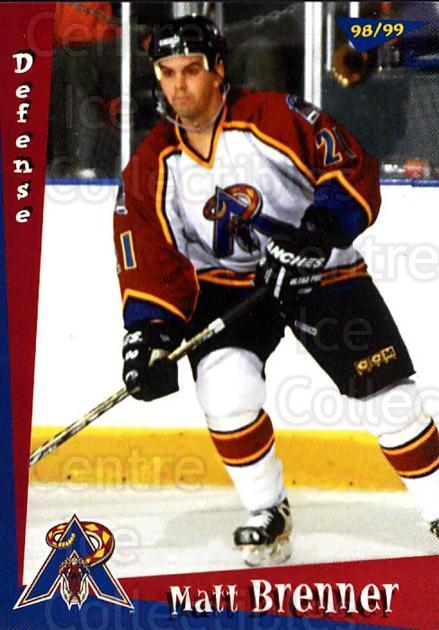 1998-99 Amarillo Rattlers #1 Matt Brenner<br/>1 In Stock - $3.00 each - <a href=https://centericecollectibles.foxycart.com/cart?name=1998-99%20Amarillo%20Rattlers%20%231%20Matt%20Brenner...&quantity_max=1&price=$3.00&code=721359 class=foxycart> Buy it now! </a>