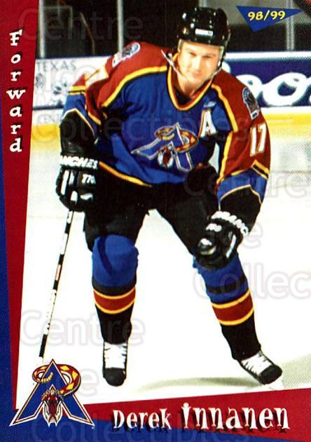 1998-99 Amarillo Rattlers #7 Derek Innanen<br/>1 In Stock - $3.00 each - <a href=https://centericecollectibles.foxycart.com/cart?name=1998-99%20Amarillo%20Rattlers%20%237%20Derek%20Innanen...&quantity_max=1&price=$3.00&code=721365 class=foxycart> Buy it now! </a>
