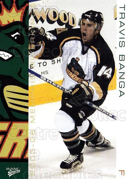 2005-06 Memphis RiverKings #8 Travis Banga<br/>1 In Stock - $3.00 each - <a href=https://centericecollectibles.foxycart.com/cart?name=2005-06%20Memphis%20RiverKings%20%238%20Travis%20Banga...&quantity_max=1&price=$3.00&code=721387 class=foxycart> Buy it now! </a>