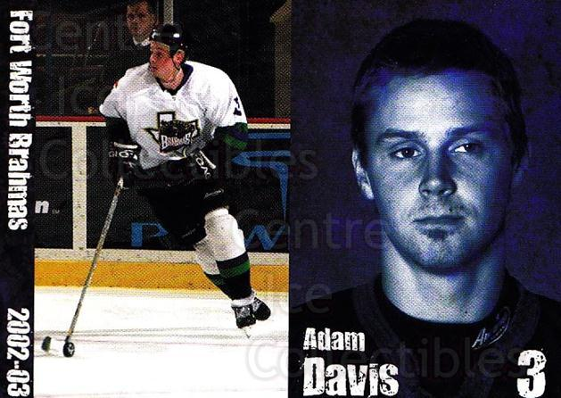 2002-03 Fort Worth Brahmas #1 Adam Davis<br/>1 In Stock - $3.00 each - <a href=https://centericecollectibles.foxycart.com/cart?name=2002-03%20Fort%20Worth%20Brahmas%20%231%20Adam%20Davis...&price=$3.00&code=721449 class=foxycart> Buy it now! </a>