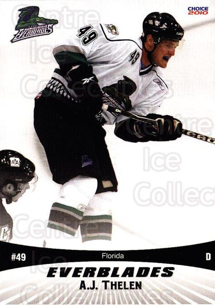 2009-10 Florida Everblades #1 AJ Thelen<br/>1 In Stock - $3.00 each - <a href=https://centericecollectibles.foxycart.com/cart?name=2009-10%20Florida%20Everblades%20%231%20AJ%20Thelen...&price=$3.00&code=721469 class=foxycart> Buy it now! </a>