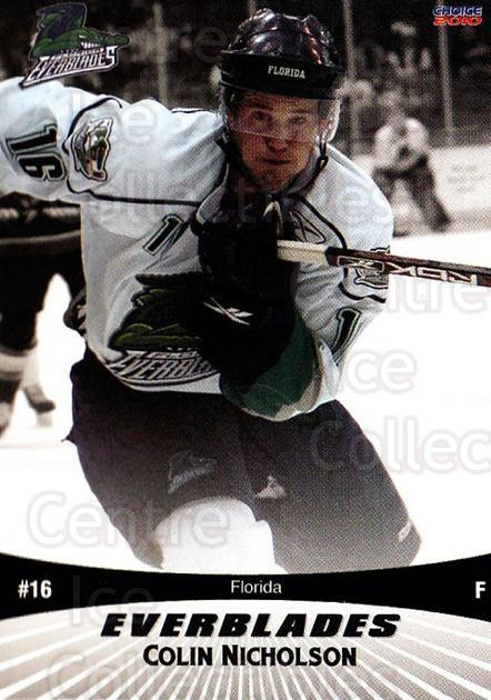 2009-10 Florida Everblades #5 Colin Nicholson<br/>1 In Stock - $3.00 each - <a href=https://centericecollectibles.foxycart.com/cart?name=2009-10%20Florida%20Everblades%20%235%20Colin%20Nicholson...&price=$3.00&code=721473 class=foxycart> Buy it now! </a>