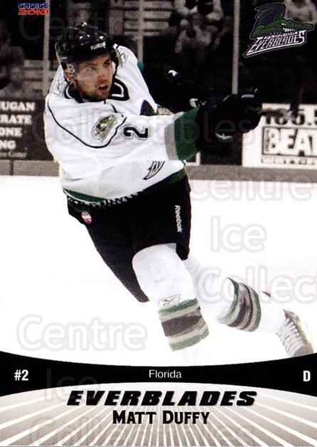 2009-10 Florida Everblades #8 Matt Duffy<br/>1 In Stock - $3.00 each - <a href=https://centericecollectibles.foxycart.com/cart?name=2009-10%20Florida%20Everblades%20%238%20Matt%20Duffy...&quantity_max=1&price=$3.00&code=721476 class=foxycart> Buy it now! </a>
