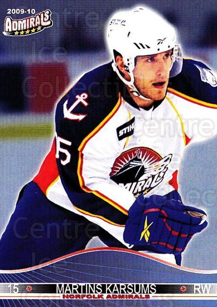 2009-10 Norfolk Admirals #13 Martins Karsums<br/>1 In Stock - $3.00 each - <a href=https://centericecollectibles.foxycart.com/cart?name=2009-10%20Norfolk%20Admirals%20%2313%20Martins%20Karsums...&quantity_max=1&price=$3.00&code=721512 class=foxycart> Buy it now! </a>
