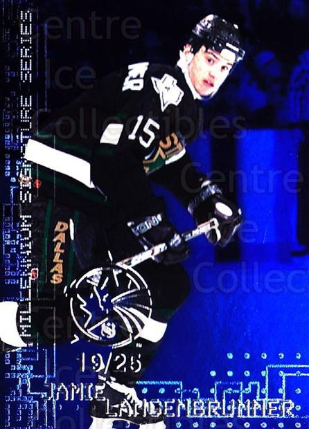 1999-00 BAP Millennium AS Game Sapphire #75 Jamie Langenbrunner<br/>1 In Stock - $10.00 each - <a href=https://centericecollectibles.foxycart.com/cart?name=1999-00%20BAP%20Millennium%20AS%20Game%20Sapphire%20%2375%20Jamie%20Langenbru...&quantity_max=1&price=$10.00&code=723654 class=foxycart> Buy it now! </a>