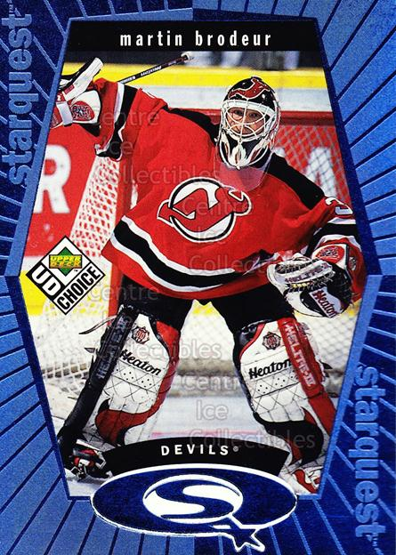 1998-99 UD Choice StarQuest Blue #23 Martin Brodeur<br/>15 In Stock - $2.00 each - <a href=https://centericecollectibles.foxycart.com/cart?name=1998-99%20UD%20Choice%20StarQuest%20Blue%20%2323%20Martin%20Brodeur...&quantity_max=15&price=$2.00&code=72369 class=foxycart> Buy it now! </a>