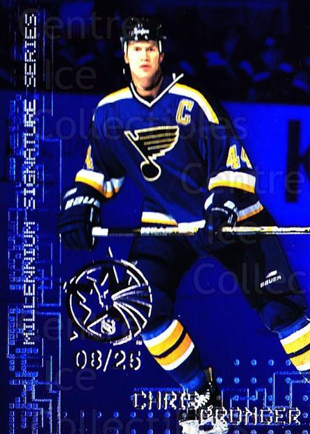 1999-00 BAP Millennium AS Game Sapphire #202 Chris Pronger<br/>1 In Stock - $10.00 each - <a href=https://centericecollectibles.foxycart.com/cart?name=1999-00%20BAP%20Millennium%20AS%20Game%20Sapphire%20%23202%20Chris%20Pronger...&quantity_max=1&price=$10.00&code=723738 class=foxycart> Buy it now! </a>