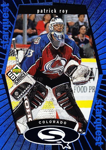 1998-99 UD Choice StarQuest Blue #3 Patrick Roy<br/>9 In Stock - $2.00 each - <a href=https://centericecollectibles.foxycart.com/cart?name=1998-99%20UD%20Choice%20StarQuest%20Blue%20%233%20Patrick%20Roy...&quantity_max=9&price=$2.00&code=72376 class=foxycart> Buy it now! </a>