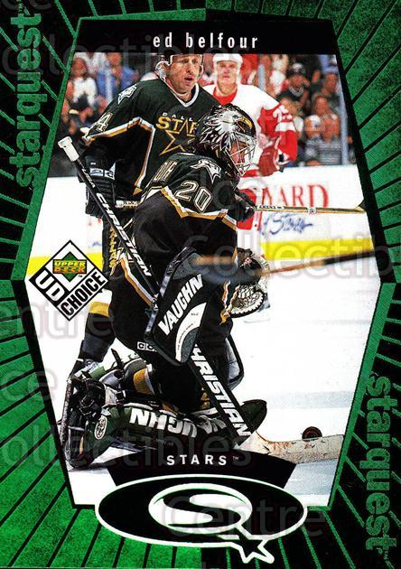 1998-99 UD Choice StarQuest Green #17 Ed Belfour<br/>1 In Stock - $2.00 each - <a href=https://centericecollectibles.foxycart.com/cart?name=1998-99%20UD%20Choice%20StarQuest%20Green%20%2317%20Ed%20Belfour...&price=$2.00&code=72388 class=foxycart> Buy it now! </a>