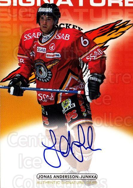 2003-04 Swedish Elitset Signatures Auto #11 Jonas Andersson-Junkka<br/>1 In Stock - $10.00 each - <a href=https://centericecollectibles.foxycart.com/cart?name=2003-04%20Swedish%20Elitset%20Signatures%20Auto%20%2311%20Jonas%20Andersson...&quantity_max=1&price=$10.00&code=724866 class=foxycart> Buy it now! </a>