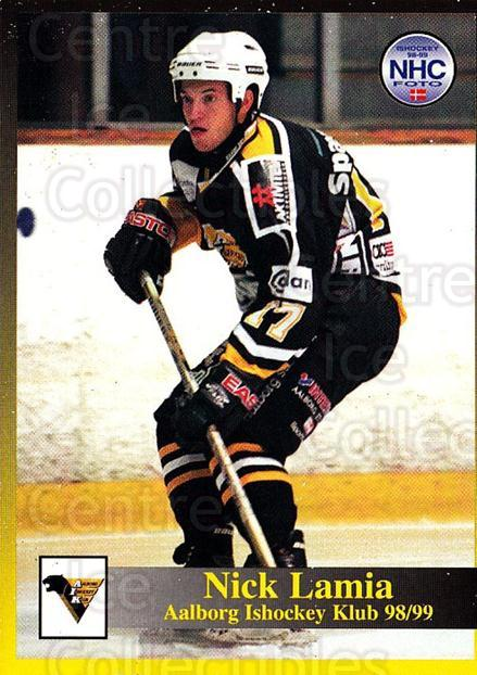 1998-99 Danish Hockey League #53 Nick Lamia<br/>1 In Stock - $3.00 each - <a href=https://centericecollectibles.foxycart.com/cart?name=1998-99%20Danish%20Hockey%20League%20%2353%20Nick%20Lamia...&quantity_max=1&price=$3.00&code=725150 class=foxycart> Buy it now! </a>