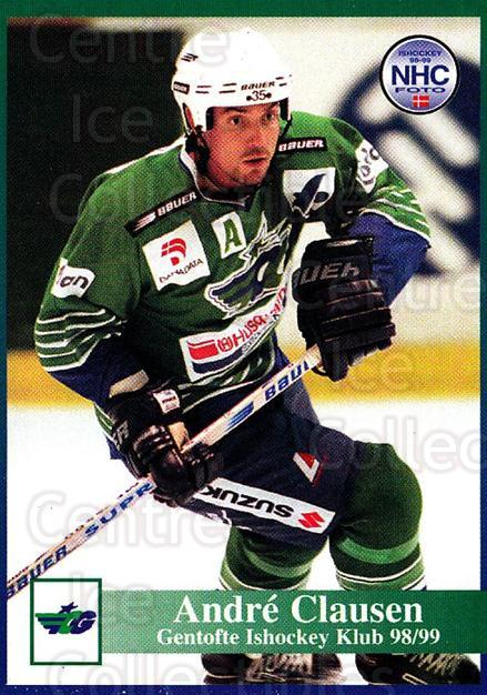 1998-99 Danish Hockey League #89 Andre Clausen<br/>1 In Stock - $3.00 each - <a href=https://centericecollectibles.foxycart.com/cart?name=1998-99%20Danish%20Hockey%20League%20%2389%20Andre%20Clausen...&quantity_max=1&price=$3.00&code=725186 class=foxycart> Buy it now! </a>