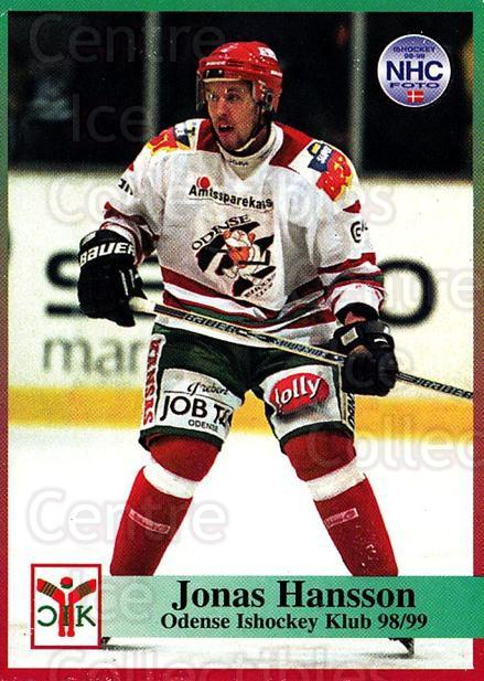 1998-99 Danish Hockey League #100 Jonas Hansson<br/>1 In Stock - $3.00 each - <a href=https://centericecollectibles.foxycart.com/cart?name=1998-99%20Danish%20Hockey%20League%20%23100%20Jonas%20Hansson...&quantity_max=1&price=$3.00&code=725197 class=foxycart> Buy it now! </a>