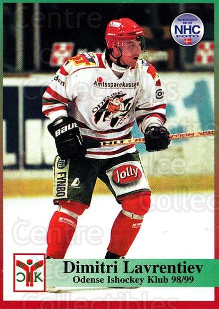 1998-99 Danish Hockey League #106 Dmitri Lavrentiev<br/>1 In Stock - $3.00 each - <a href=https://centericecollectibles.foxycart.com/cart?name=1998-99%20Danish%20Hockey%20League%20%23106%20Dmitri%20Lavrenti...&quantity_max=1&price=$3.00&code=725203 class=foxycart> Buy it now! </a>