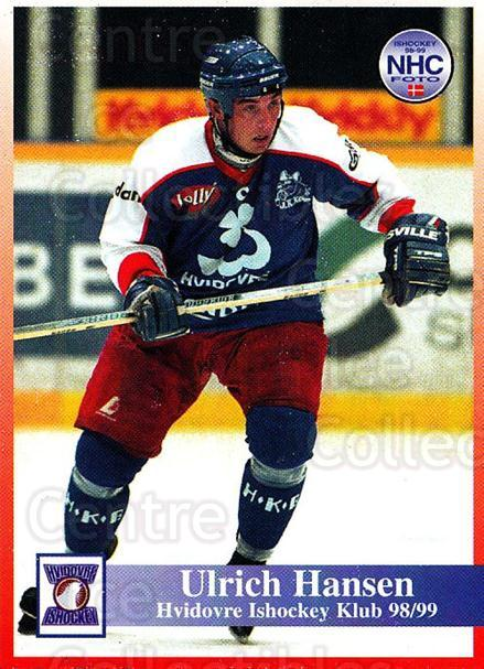 1998-99 Danish Hockey League #130 Ulrich Hansen<br/>1 In Stock - $3.00 each - <a href=https://centericecollectibles.foxycart.com/cart?name=1998-99%20Danish%20Hockey%20League%20%23130%20Ulrich%20Hansen...&quantity_max=1&price=$3.00&code=725227 class=foxycart> Buy it now! </a>