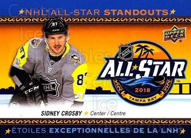 2018-19 Tim Hortons NHL AS Standouts #2 Sidney Crosby<br/>11 In Stock - $3.00 each - <a href=https://centericecollectibles.foxycart.com/cart?name=2018-19%20Tim%20Hortons%20NHL%20AS%20Standouts%20%232%20Sidney%20Crosby...&quantity_max=11&price=$3.00&code=725458 class=foxycart> Buy it now! </a>