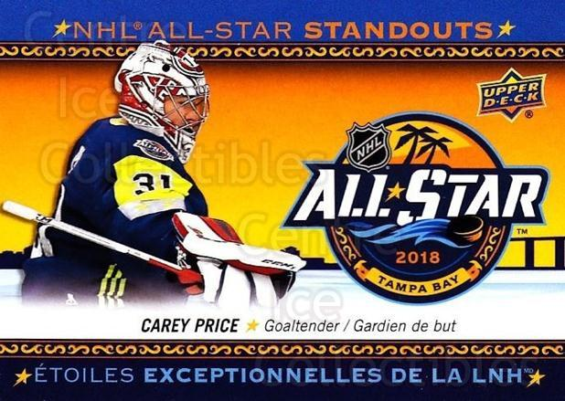 2018-19 Tim Hortons NHL AS Standouts #5 Carey Price<br/>13 In Stock - $3.00 each - <a href=https://centericecollectibles.foxycart.com/cart?name=2018-19%20Tim%20Hortons%20NHL%20AS%20Standouts%20%235%20Carey%20Price...&quantity_max=13&price=$3.00&code=725461 class=foxycart> Buy it now! </a>